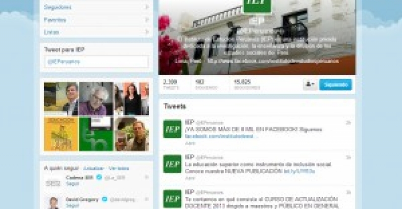 El IEP es el centro de investigación más influyente del Perú en Twitter