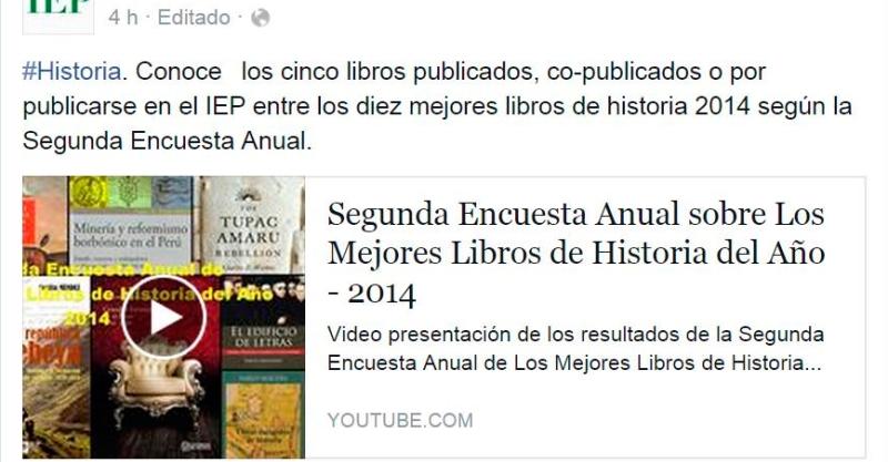 Cinco publicaciones del IEP entre los diez mejores libros de historia del 2014