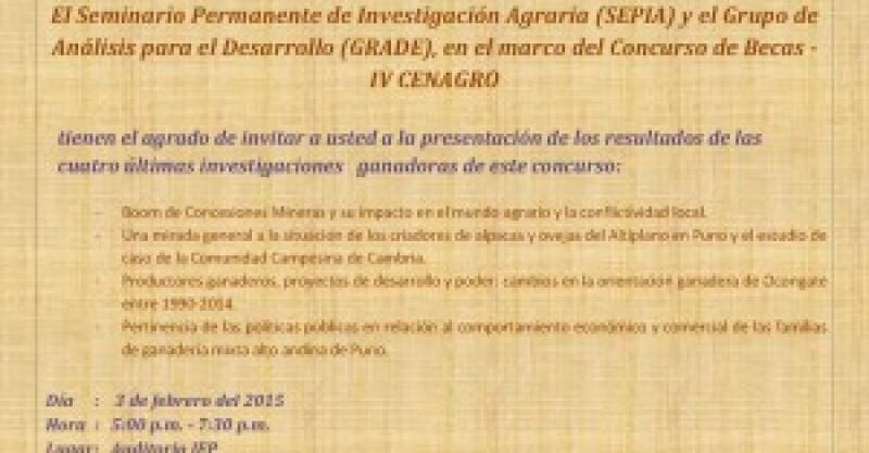 Presentación de investigaciones del Concurso de Becas IV CENAGRO