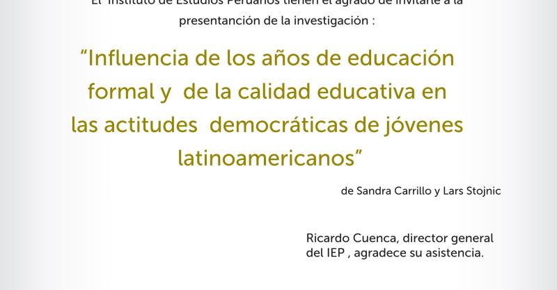 Sandra Carrillo y Lars Stojnic presentan estudio sobre la influencia de la educación en las actitudes democráticas de los jóvenes latinoamericanos