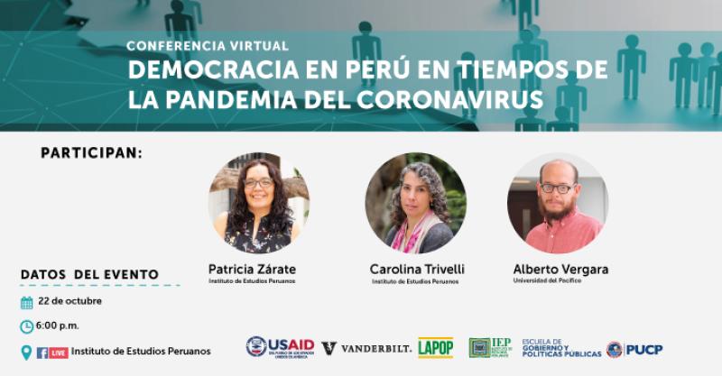 """Conferencia virtual: """"Democracia en Perú en tiempos de la pandemia del coronavirus"""""""
